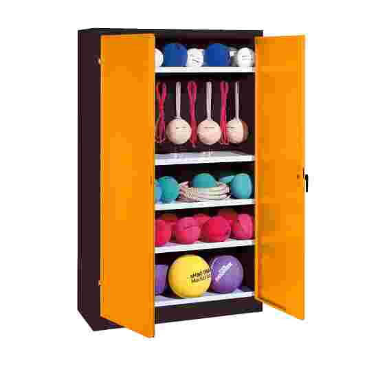 Sports Equipment Locker, HxWxD 195x120x50 cm, with metal double doors (type 2) Yellow orange (RAL 2000), Anthracite (RAL 7021)