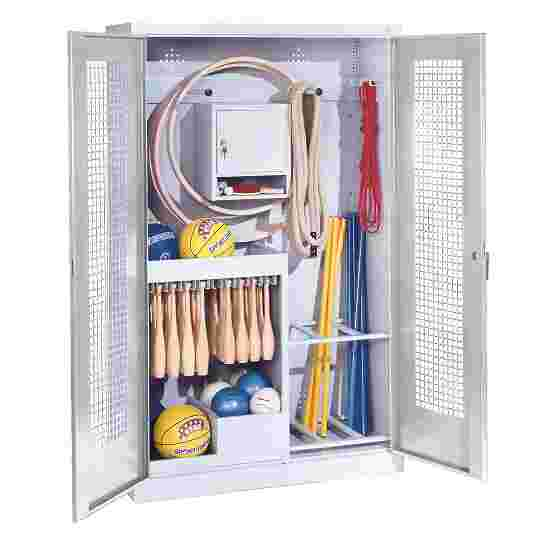 Sports Equipment Locker, HxWxD 195x120x50 cm, with perforated metal double doors (type 1) Light grey (RAL 7035), Light grey (RAL 7035)
