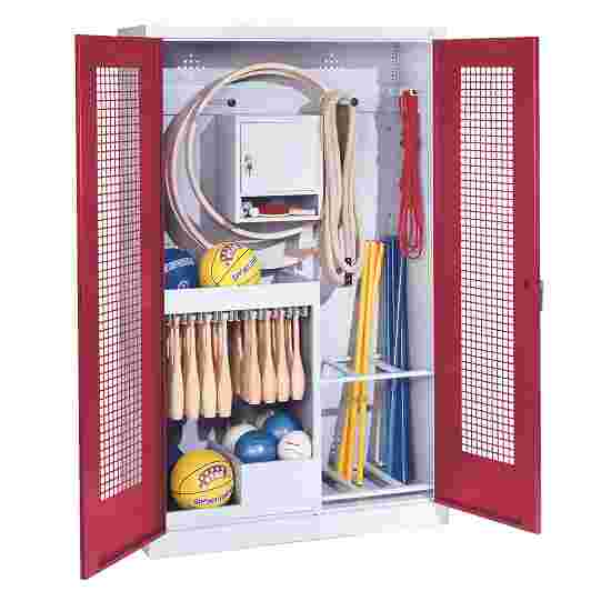 Sports Equipment Locker, HxWxD 195x120x50 cm, with perforated metal double doors (type 1) Ruby red (RAL 3003), Light grey (RAL 7035)