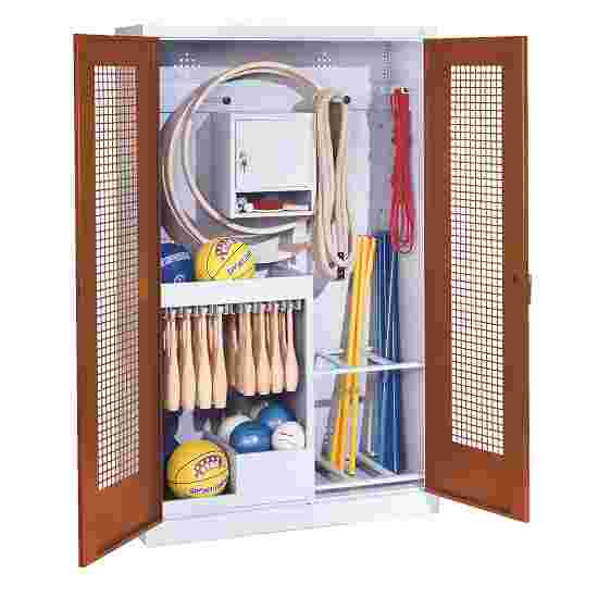 Sports Equipment Locker, HxWxD 195x120x50 cm, with perforated metal double doors (type 1) Sienna red (RDS 050 40 50), Light grey (RAL 7035)