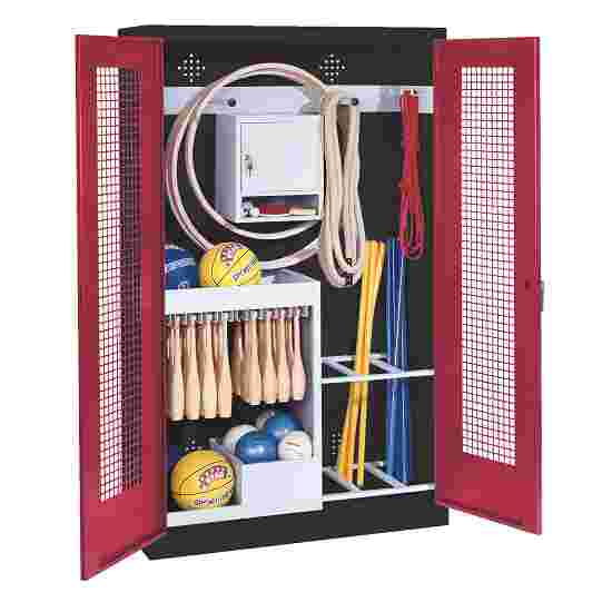 Sports Equipment Locker, HxWxD 195x120x50 cm, with perforated metal double doors (type 1) Ruby red (RAL 3003), Anthracite (RAL 7021)