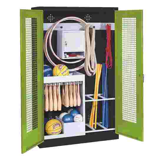 Sports Equipment Locker, HxWxD 195x120x50 cm, with perforated metal double doors (type 1) Viridian green (RDS 110 80 60), Anthracite (RAL 7021)