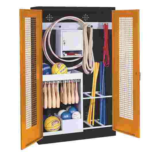 Sports Equipment Locker, HxWxD 195x120x50 cm, with perforated metal double doors (type 1) Yellow orange (RAL 2000), Anthracite (RAL 7021)