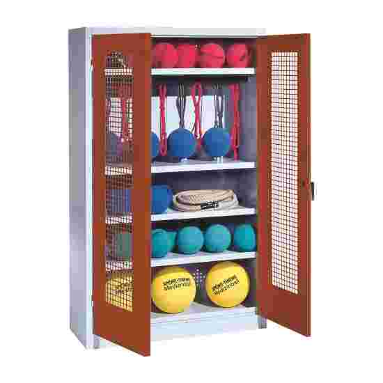 Sports Equipment Locker, HxWxD 195x120x50 cm, with perforated metal double doors (type 2) Sienna red (RDS 050 40 50), Light grey (RAL 7035)