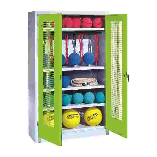 Sports Equipment Locker, HxWxD 195x120x50 cm, with perforated metal double doors (type 2) Viridian green (RDS 110 80 60), Light grey (RAL 7035)