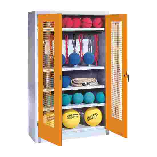 Sports Equipment Locker, HxWxD 195x120x50 cm, with perforated metal double doors (type 2) Yellow orange (RAL 2000), Light grey (RAL 7035)