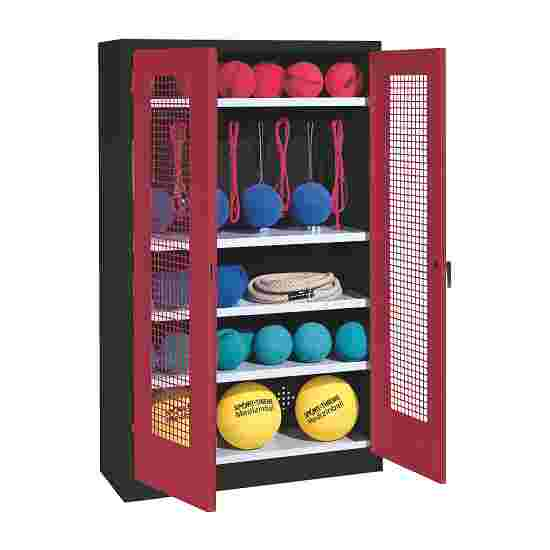 Sports Equipment Locker, HxWxD 195x120x50 cm, with perforated metal double doors (type 2) Ruby red (RAL 3003), Anthracite (RAL 7021)