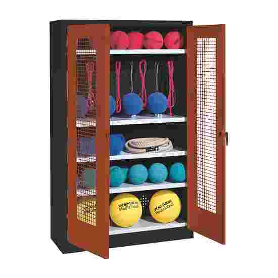 Sports Equipment Locker, HxWxD 195x120x50 cm, with perforated metal double doors (type 2) Sienna red (RDS 050 40 50), Anthracite (RAL 7021)