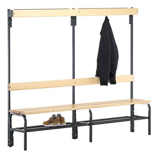 Sypro Wolf® Omklædningsbænk til tørre rum med ryglæn 1,50 m, Med skotøjshylde
