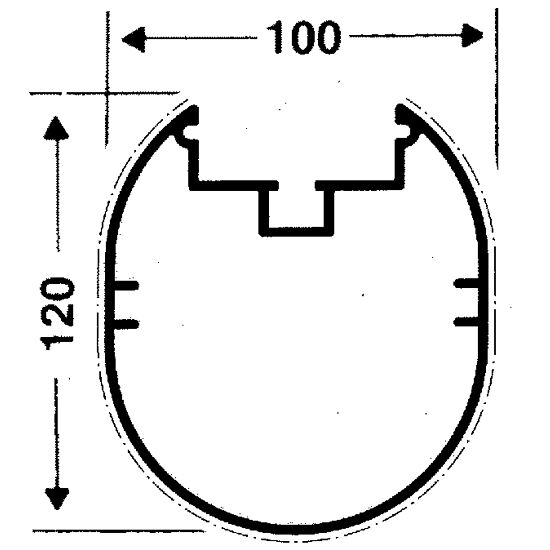 Transportrollen für freistehende Tore Ovalprofil 100x120 mm, Profilnut tiefer liegend