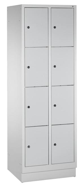 """Fächerschrank """"S 3000 Evolo"""" mit Sockel (4 Fächer übereinander) 180x61x50 cm/ 8 Fächer, Lichtgrau (RAL 7035)"""