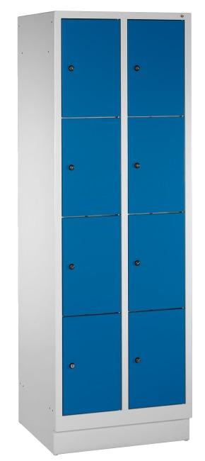 """Fächerschrank """"S 3000 Evolo"""" mit Sockel (4 Fächer übereinander) 180x61x50 cm/ 8 Fächer, Enzianblau (RAL 5010)"""