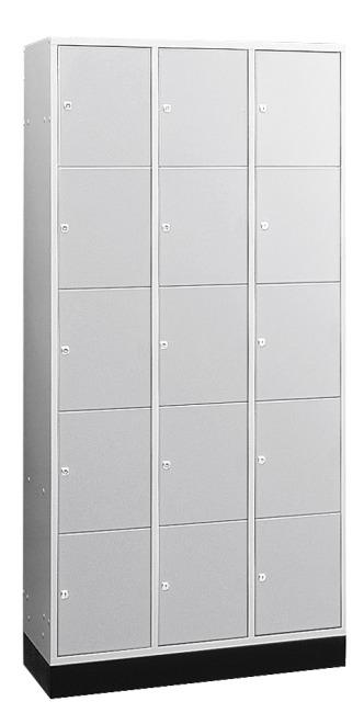 """Großraum-Schließfachschrank """"S 4000 Intro"""" (5 Fächer übereinander) 195x122x49 cm/ 15 Fächer, Lichtgrau (RAL 7035)"""