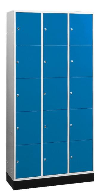 """Großraum-Schließfachschrank """"S 4000 Intro"""" (5 Fächer übereinander) 195x122x49 cm/ 15 Fächer, Enzianblau (RAL 5010)"""