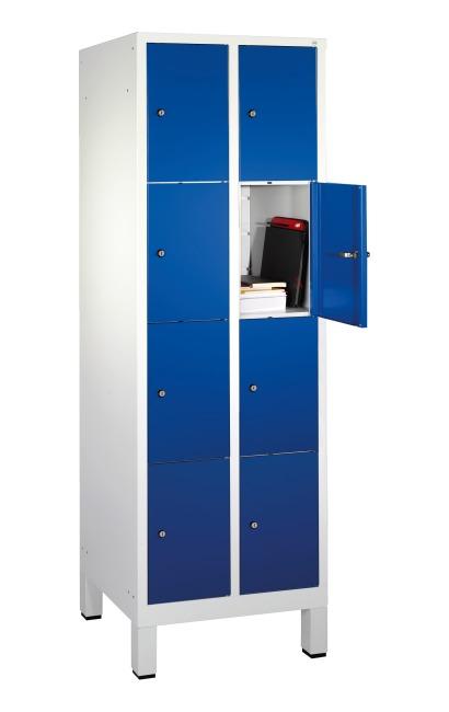 """Fächerschrank """"S 3000 Evolo"""" mit Füßen (4 Fächer übereinander) 185x61x50 cm/ 8 Fächer, Enzianblau (RAL 5010)"""
