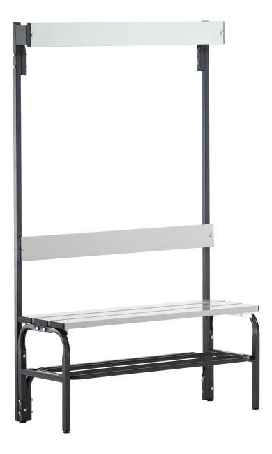 Sypro Wolf® Umkleidebank für Feuchträume mit Rückenlehne 1,01 m , Mit Schuhrost