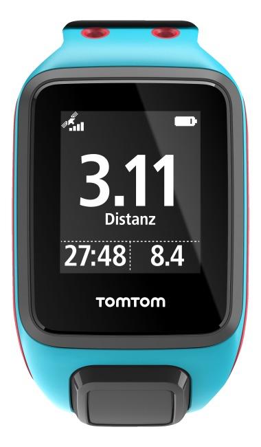 """TomTom Sportuhr Runner 2 """"Cardio + Music"""" Türkis/Rot, L"""