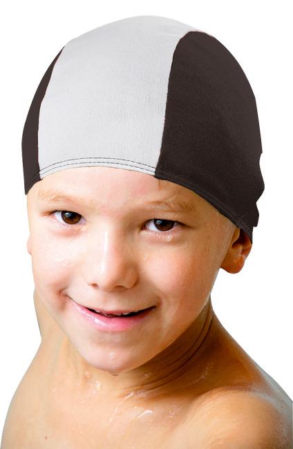 Textil-Schwimmhauben Kinder, Schwarz-Weiß