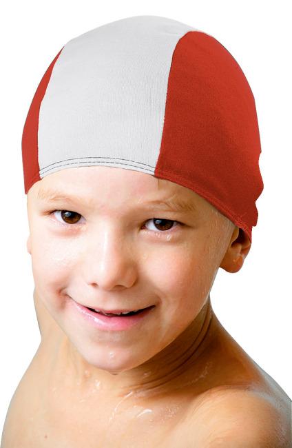 Textil-Schwimmhauben Kinder, Rot-Weiß