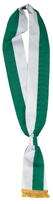 Schärpen Grün-Weiß, 7,5x190 cm