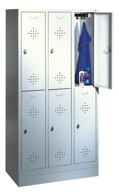 """Dobbelt Garderobeskab """"S 2000 Classic"""" med 100 mm høj sokkel 180x90x50 cm/ 6 Fag, 300 mm"""