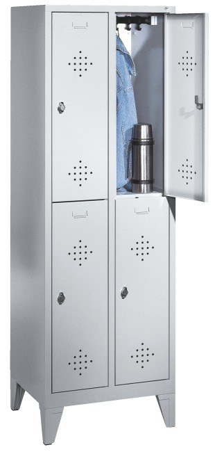 """Doppel-Garderobenschrank """"S 2000 Classic"""" mit 150 mm hohen Füßen 185x61x50 cm / 4 Fächer, 300 mm"""