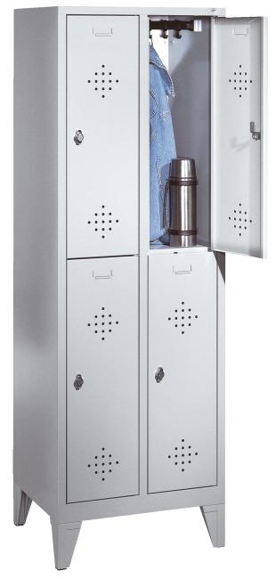 """Doppel-Garderobenschrank """"S 2000 Classic"""" mit 150 mm hohen Füßen 185x81x50 cm/ 4 Fächer, 400 mm"""