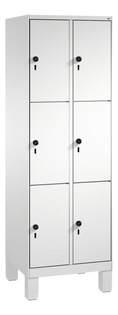 """Fächerschrank """"S 3000 Evolo"""" mit Füßen (3 Fächer übereinander) 185x60x50 cm/ 6 Fächer, Lichtgrau (RAL 7035)"""