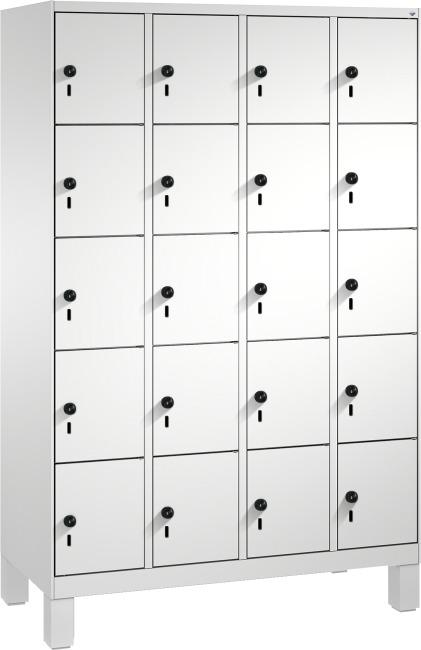 """Fächerschrank """"S 3000 Evolo"""" mit Füßen (5 Fächer übereinander) 185x120x50 cm/ 20 Fächer, Lichtgrau (RAL 7035)"""