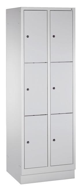 """Fächerschrank """"S 3000 Evolo"""" mit Sockel (3 Fächer übereinander) 180x61x50 cm/ 6 Fächer, Lichtgrau (RAL 7035)"""