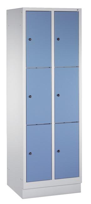 """Fächerschrank """"S 3000 Evolo"""" mit Sockel (3 Fächer übereinander) 180x61x50 cm/ 6 Fächer, Enzianblau (RAL 5010)"""