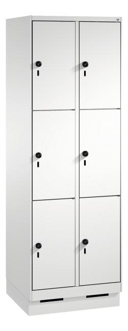 """Fächerschrank """"S 3000 Evolo"""" mit Sockel (3 Fächer übereinander) 180x60x50 cm/ 6 Fächer, Lichtgrau (RAL 7035)"""