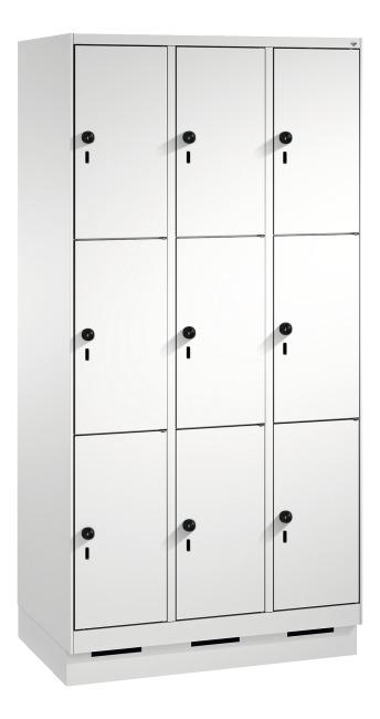 """Fächerschrank """"S 3000 Evolo"""" mit Sockel (3 Fächer übereinander) 180x90x50 cm/ 9 Fächer, Lichtgrau (RAL 7035)"""