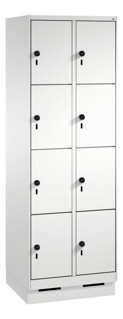 """Fächerschrank """"S 3000 Evolo"""" mit Sockel (4 Fächer übereinander) 180x60x50 cm/ 8 Fächer, Lichtgrau (RAL 7035)"""