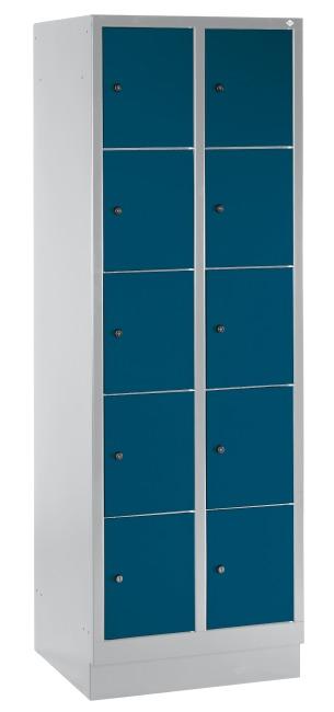 """Fächerschrank """"S 3000 Evolo"""" mit Sockel (5 Fächer übereinander) 180x61x50 cm/ 10 Fächer, Enzianblau (RAL 5010)"""