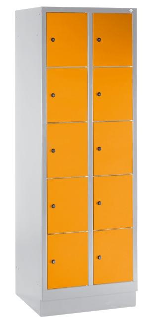 """Fächerschrank """"S 3000 Evolo"""" mit Sockel (5 Fächer übereinander) 180x61x50 cm/ 10 Fächer, Gelborange (RAL 2000)"""