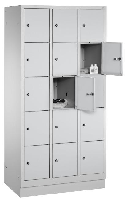"""Fächerschrank """"S 3000 Evolo"""" mit Sockel (5 Fächer übereinander) 180x90x50 cm/ 15 Fächer, Lichtgrau (RAL 7035)"""