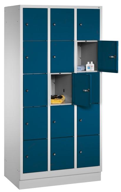 """Fächerschrank """"S 3000 Evolo"""" mit Sockel (5 Fächer übereinander) 180x90x50 cm/ 15 Fächer, Enzianblau (RAL 5010)"""
