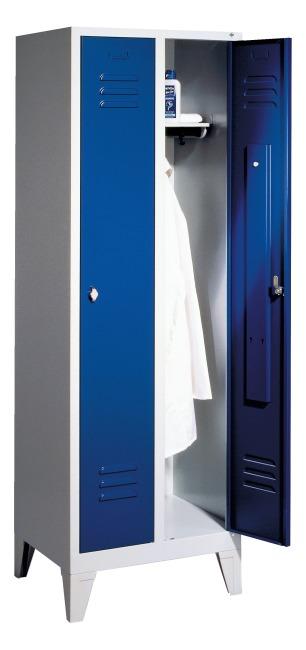 "Garderobeskab ""S 2000 Classic"" med 150 mm høje ben 1850x610x500 mm /2 rum, 30 cm"