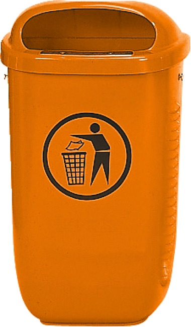 Litter Bin, complies with DIN Standard, Orange