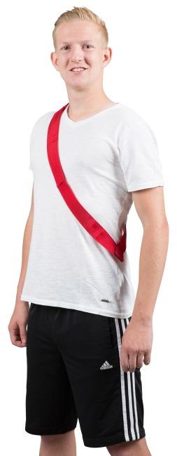 Mannschaftsband mit Klettverschluss Erwachsene, L: ca. 60 (120) cm, Rot
