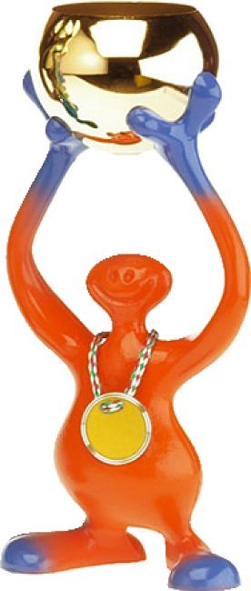 "Pokalfigur ""Bibo"" Orange-Blau, 24 cm"