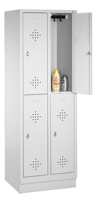 """S 2000 Classic"" Double Lockers with 100-mm-high Base 180x81x50 cm/ 4 shelves, 400 mm"