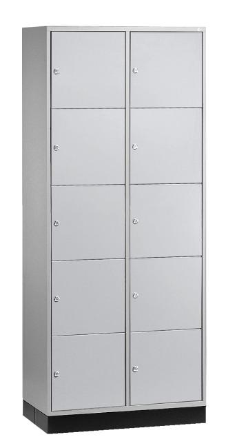 """Schließfachschrank """"S 4000 Intro"""" (5 Fächer übereinander) 195x62x49cm/ 10 Fächer, Lichtgrau (RAL 7035)"""