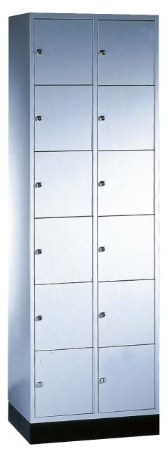 """Schließfachschrank """"S 4000 Intro"""" (6 Fächer übereinander) 195x62x49cm/ 12 Fächer, Lichtgrau (RAL 7035)"""
