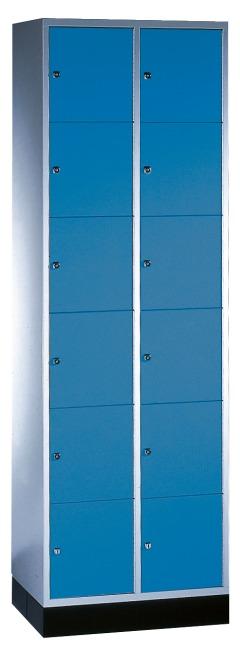 """Schließfachschrank """"S 4000 Intro"""" (6 Fächer übereinander) 195x62x49cm/ 12 Fächer, Enzianblau (RAL 5010)"""