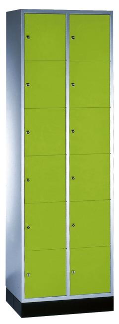 """Schließfachschrank """"S 4000 Intro"""" (6 Fächer übereinander) 195x62x49cm/ 12 Fächer, Viridingrün (RDS 110 80 60)"""
