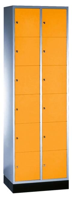 """Schließfachschrank """"S 4000 Intro"""" (6 Fächer übereinander) 195x62x49cm/ 12 Fächer, Gelborange (RAL 2000)"""