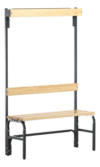 Sypro Wolf® Omklædningsbænk til tørre rum med ryglæn 1,01 m, Uden skotøjshylde