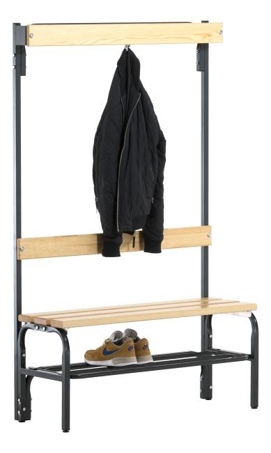 Sypro Wolf® Omklædningsbænk til tørre rum med ryglæn 1,01 m, Med skotøjshylde